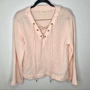 Cloth & stone pink lace up top
